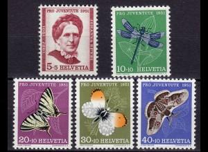 Schweiz Mi. 561-565 postfrisch Pro Juventute 1952 Insekten (11229