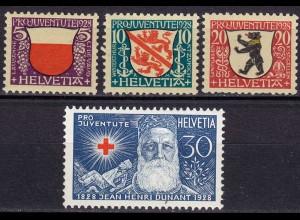 Schweiz Mi. 229-232 postfrisch Pro Juventute Wappen 1928 (11274
