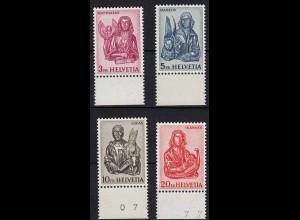Schweiz Mi. 738-741 ** Unterrand Freimarken Evangelisten 1961 (14498