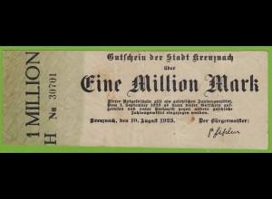 Kreuznach - 1-Million Mark 1923 Serie H Nr. 5-stellig kl.Pägestempel F/VF