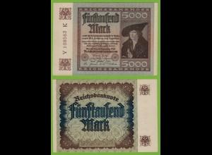 Reichsbanknote 5000 fünftausend Mark 1922 Ros 80c UNC laufende Nummern Y-K