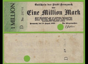 Kreuznach - Notgeld 1-Million Mark 1923 Serie D Nr. 5-stellig F (19551