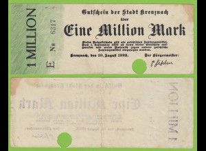 Kreuznach - Notgeld 1-Million Mark 1923 Serie E Nr. 4-stellig F (19552