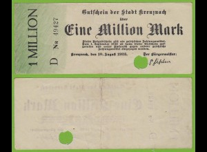 Kreuznach - Notgeld 1-Million Mark 1923 Serie D Nr. 5-stellig F/VF (19553