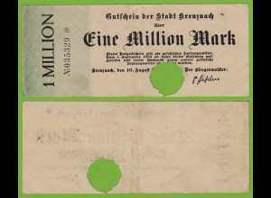 Kreuznach - Notgeld 1-Million Mark 1923 6-stellig Starnote F/VF (19555