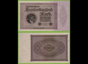 Reichsbanknote - 100000 100.000 Mark 1923 Ros. 82d VF/XF (19556