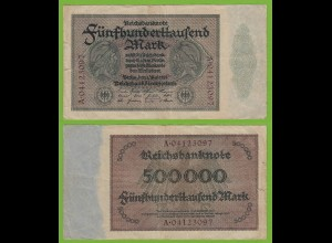 Reichsbanknote - 500000 500.000 Mark 1923 Ros. 87b F (19557