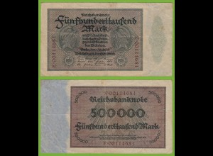 Reichsbanknote - 500000 500.000 Mark 1923 Ros. 87b F/VF (19558
