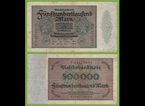 Reichsbanknote - 500000 500.000 Mark 1923 Ros. 87b fast VF (19559