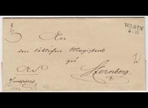Mecklenburg-Schwerin - Warin Vorph.Umschlag n.Sternberg ca. 1842 (12123