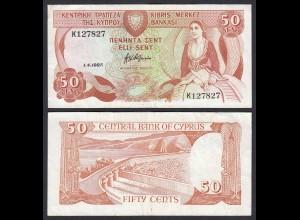 Zypern - Cyprus 50 Cents Banknote 1987 VF Pick 52 (19620