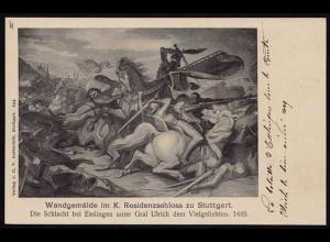 AK Stuttgart Wandgemälde Residenzschloss Schlacht Esslingen (8526