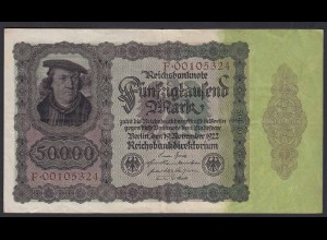 Reichsbanknote - 50000 50.000 Mark 1922 Ros. 78 Pick 80 VF (19652