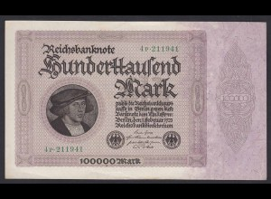 Reichsbanknote - 100000 100.000 Mark 1923 Ros. 82d Pick 83 XF (19654