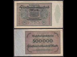 Reichsbanknote - 500000 500.000 Mark 1923 Ros. 87b F/VF Pick 88a (19662