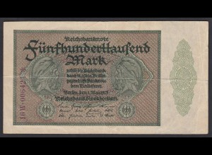 Reichsbanknote - 500000 500.000 Mark 1923 Ros. 87f VF Pick 88b (19656