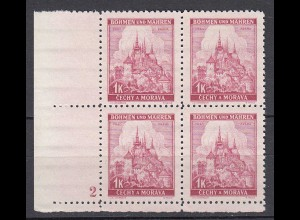 Böhmen & Mähren - Bohemia & Moravia Mi. 28 ER 4er Block Platte 2 (19776