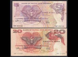 PAPUA NEUGUINEA - NEW GUINEA 5 + 20 Kina Pick 13a + 10a VF (19687