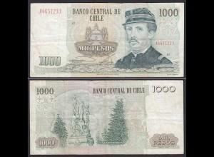 CHILE - 1000 Pesos Banknote 1987 Pick 154c VF Prefix A Block 21 (19694