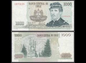CHILE - 1000 Pesos Banknote 1990 Pick 154c VF Prefix CA Block 6 (19695