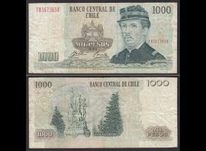 CHILE - 1000 Pesos Banknote 1994 Pick 154e F Prefix FB Block 1 (19697