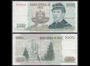 CHILE - 1000 Pesos Banknote 1997 Pick 154f VF Prefix HB Block 19 (19701