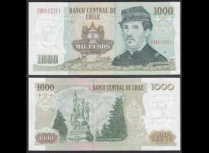 CHILE - 1000 Pesos Banknote 2002 Pick 154f fast XF Prefix FH Block 9 (19704