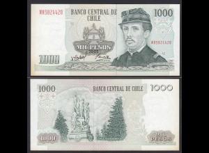 CHILE - 1000 Pesos Banknote 2005 Pick 154f fast XF Prefix NH Block 12 (19707