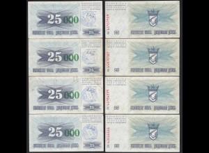 BOSNIEN - BOSNIA 4 Stück 25.000 Dinara 15.10.1993 VF Pick 54a (19752