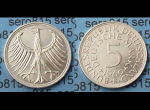 5 DM Silber-Adler Silberadler Münze 1969 F Jäger 387 BRD (8033