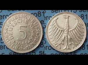 5 DM Silber-Adler Silberadler Münze 1951 F Jäger 387 BRD (7980