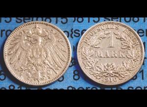 1 Mark Jäger 17 Silber Münze großer Adler 1910 F (982