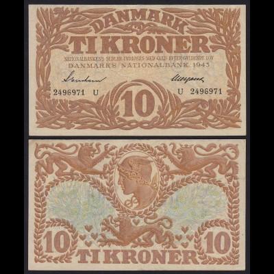 DÄNEMARK - DENMARK 10 KRONOR 1943 VF+ Pick 31o (19853