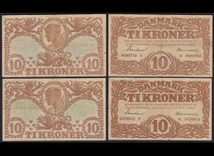 DÄNEMARK - DENMARK 2 x 10 KR. 1942 F Pick 31k + 31L (19862