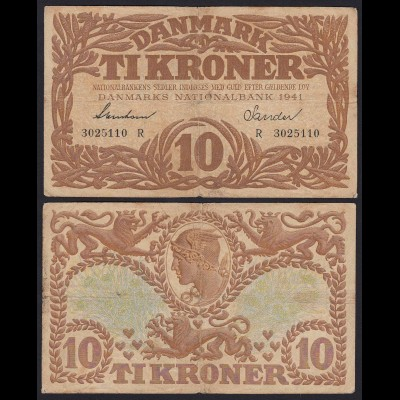 DÄNEMARK - DENMARK 10 KRONER 1941 F/VF Pick 31j (19864