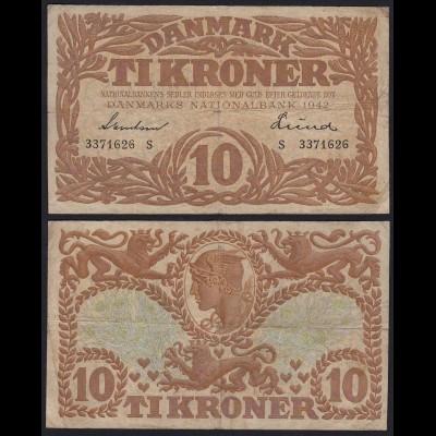 DÄNEMARK - DENMARK 10 KRONER 1942 F Pick 31L (19868