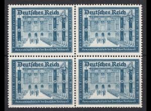 3.Reich DR 1939 Michel Nr. 703 ** postfr. 4 Pfennig 4er Block Mi. 56 € (19913