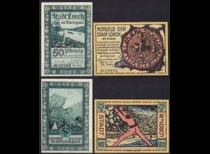 Hessen - Lorch (Rheingau) 25 und 50 Pfennig 1921 Notgeld (11443