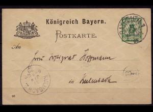 Bayreuth-Kulmbach Bayern 1899 Karte Distributions/Briefträgerstempel B1 (b785