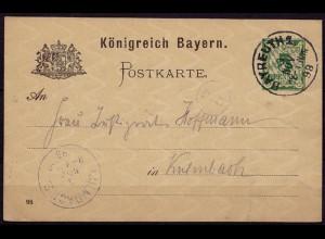 Bayreuth-Kulmbach Bayern 1898 Karte Distributions/Briefträgerstempel B5 (b784