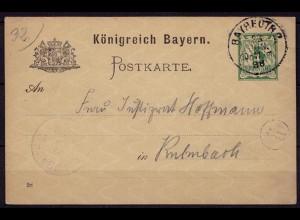 Bayreuth-Kulmbach Bayern 1898 Karte Distributions/Briefträgerstempel B4 (b783