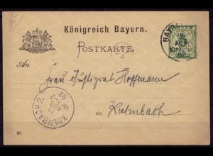 Bayreuth-Kulmbach Bayern 1898 Karte Distributions/Briefträgerstempel 11 (b781