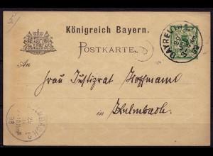 Bayreuth-Kulmbach Bayern 1898 Karte Distributions/Briefträgerstempel 6 (b780
