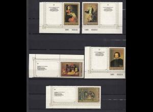 Russland UDSSR Gemälde Erimetage 5476-80 ** 1985 m. ZF Mi. 30 € (19567