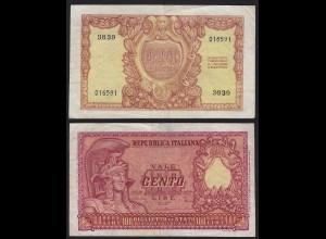 Italien - Italy 100 Lire Banknote 1951 VF Pick 92 (19978