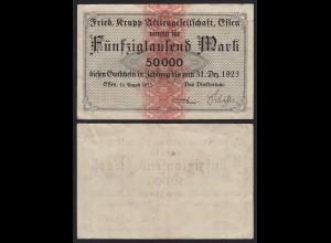 Krupp Essen 50 Tausend Mark Gutschein/Banknote 1923 VF (19990