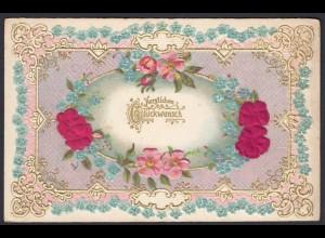 AK allgemein Glückwunsch Textil Blumen Prägekarte (20015