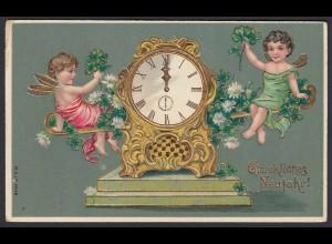 AK Glückliches Neujahr 1909 Prägelitho Gold-Druck Engel (20018