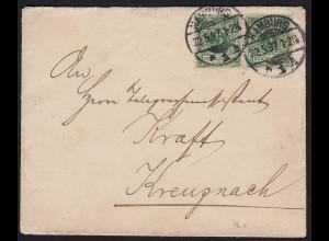 DR 2 x 5 Pfennig 1897 Brief Hamburg nach Kreuznach (20059