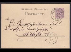 DR Ganzsachen Karte 1889 Düsseldorf nach Neuss (20060